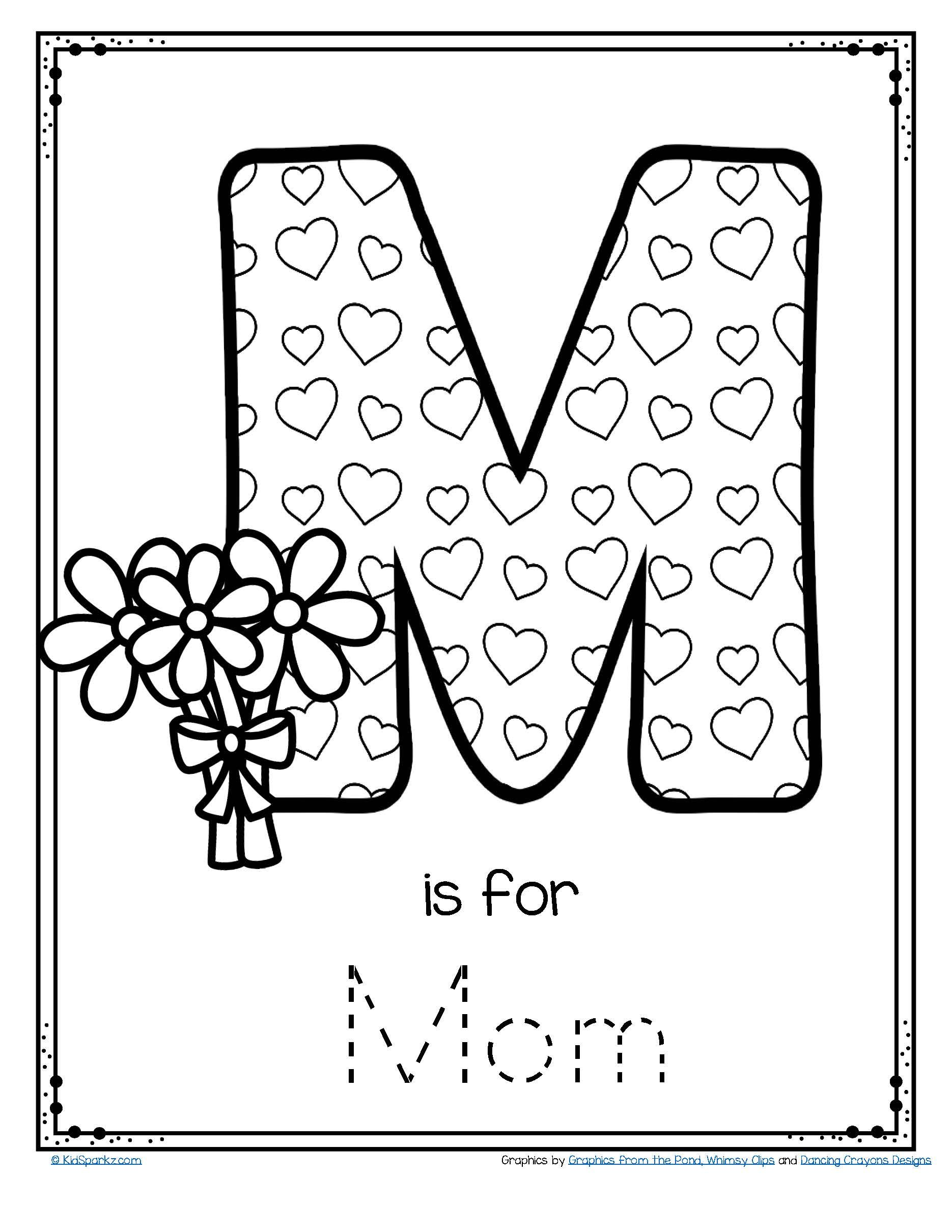 free m is for mom trace and color printable preschool kindergarten mothersdayactivity. Black Bedroom Furniture Sets. Home Design Ideas