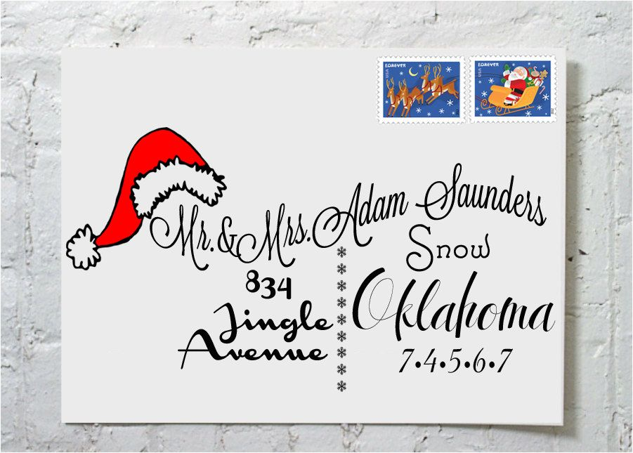 Christmas Card Santa Hat Calligraphy Envelope Addressing via Etsy ...