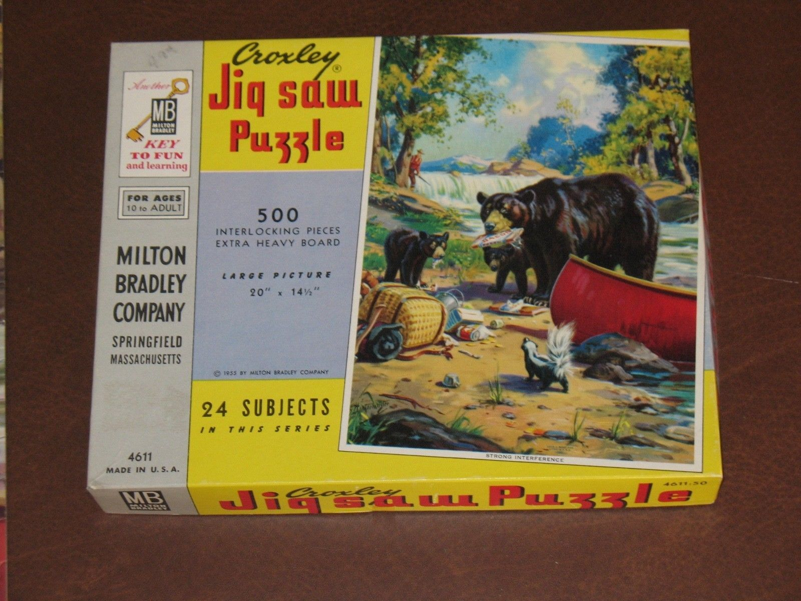 Vtg Croxley Jig Saw Puzzle Strong Interference Bears In Camp Hintermeister 55 Jig Bear Jigsaw
