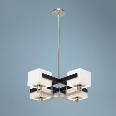 Possini euro design mirrored grids metal and wood chandelier style 87776