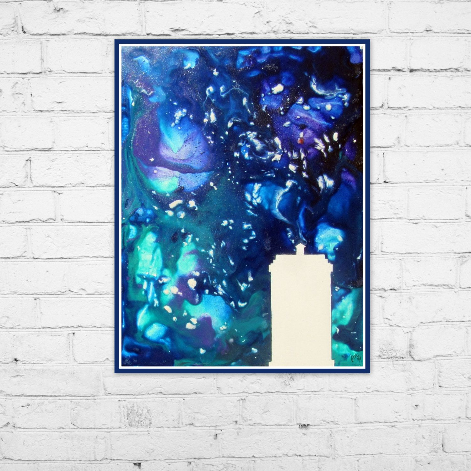 Art Print 8X10 Tardis Silhouette Doctor Who Space Melted Crayon
