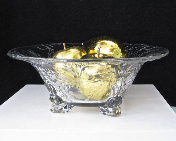 vintage footed cut crystal centerpiece bowl u2022 fancy scrolled clear rh pinterest fr