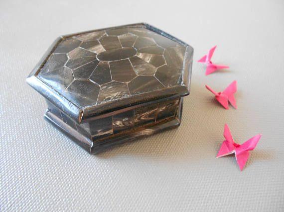 Vintage Boite Petite Bois Ebene Laquee Maison Rangement Chambre Collection Bijoux Accessoires Interieur Decoration Decor Annees Rangement Chambre Boite Vintage