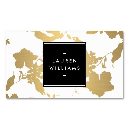 Elegant gold floral pattern on white ii business card beauty elegant faux gold floral pattern designer beauty business card template easy to personalize reheart Images