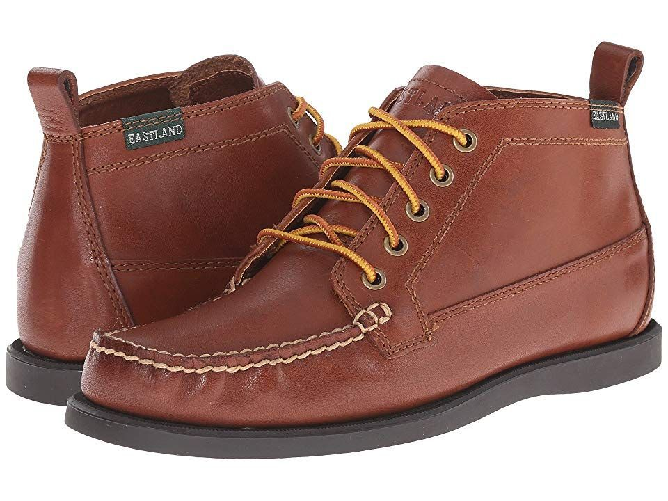 1955 Edition Seneca (Tan) Men's Lace-up Boots. The Seneca Camp Moc Chukka Boot from Eastland is a camp moc classic in a five-eye chukka for weekends at the lake or everyday rambling. Smooth leather upper features handsewn  true moc construction that wraps your foot in comfort. Fully lined  cushioned fabric insole helps
