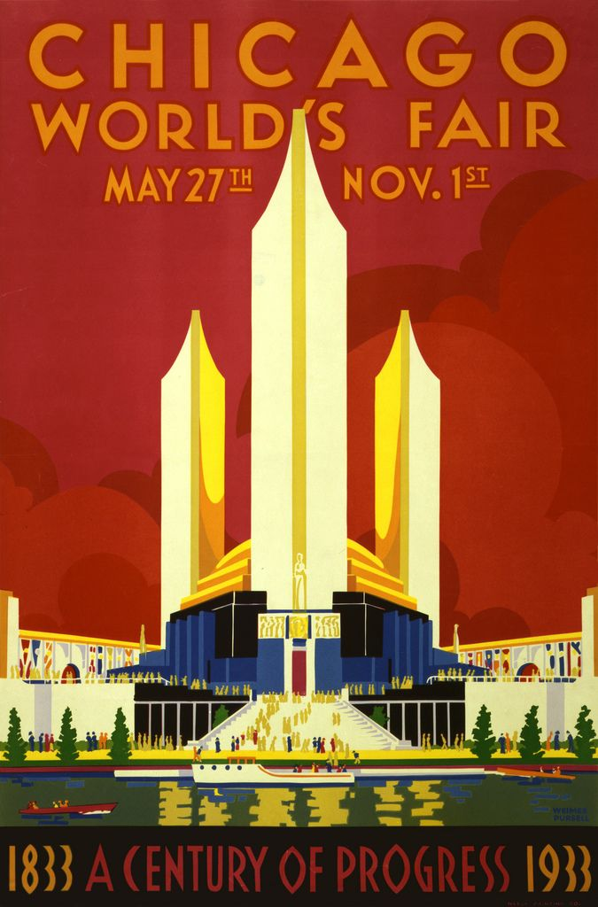 Chicago world's fair, a century of progress, expo poster by Weimer Pursell, 1933