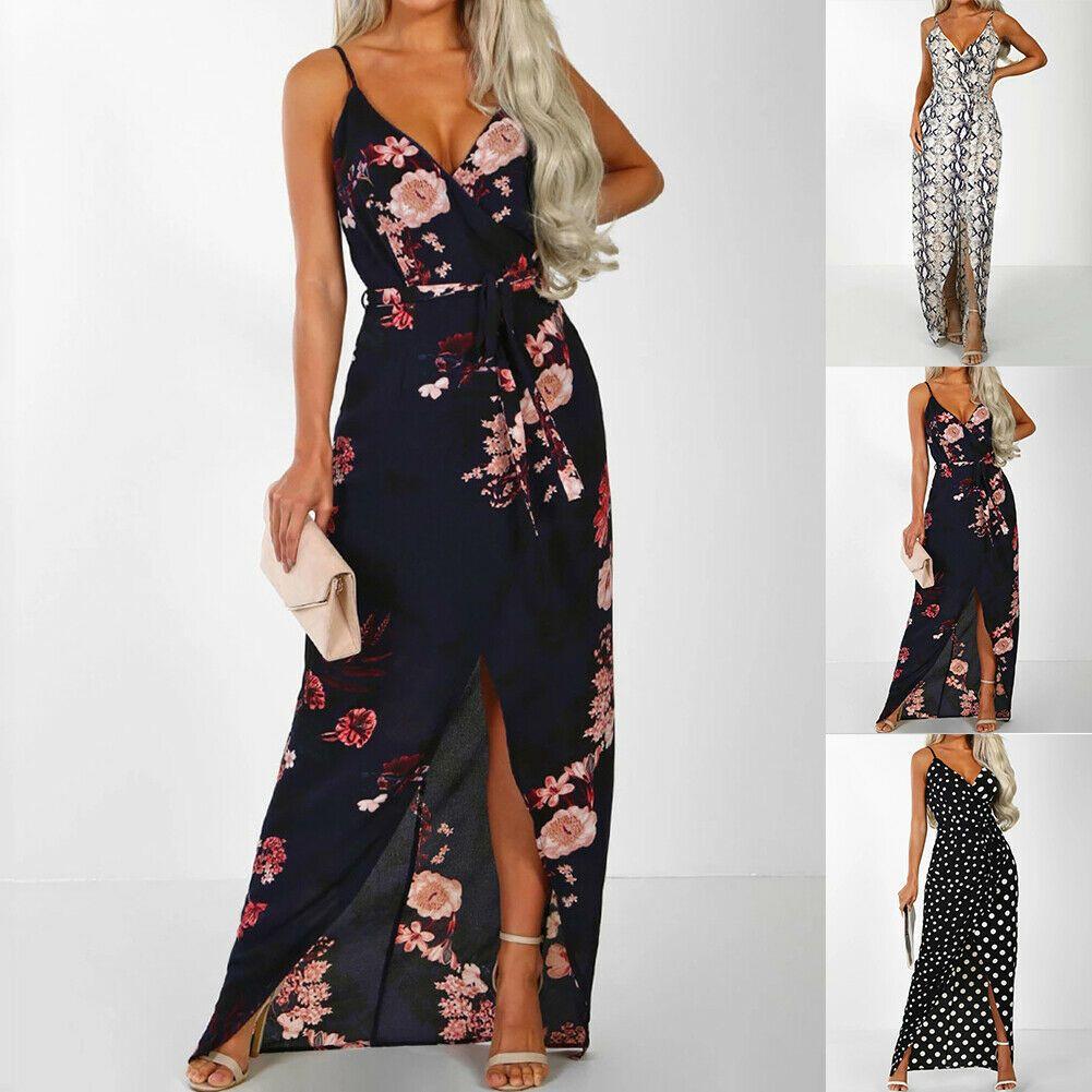 Party Kleid Strand Geteiltes Kleid Sommerkleid Boho Lang Maxi Mode