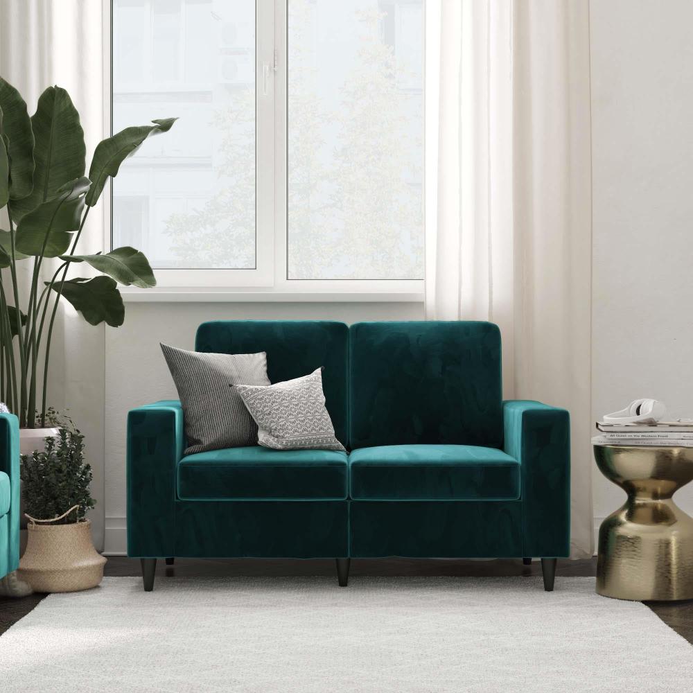 Dhp Cooper Loveseat Green Velvet Walmart Com Love Seat Loveseat Living Room Living Room Decor