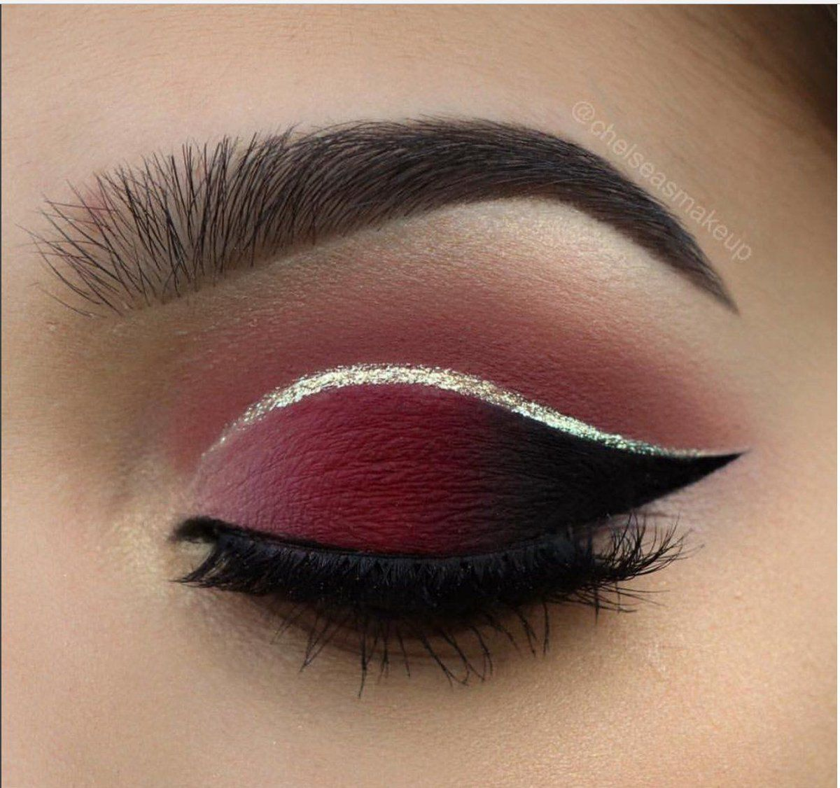 Maroon And Black Smokey Eyes Silver Crease Wing Looks Pinterest