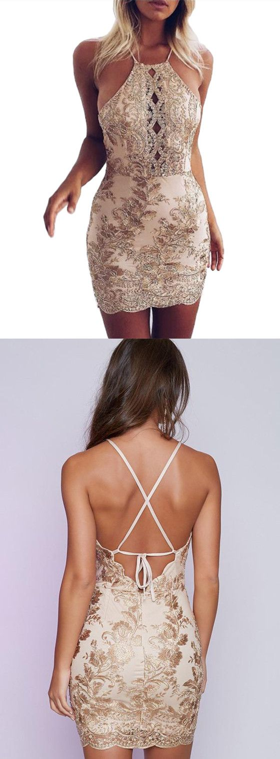 Charming gold embroidery halter sexy tight party dress mini