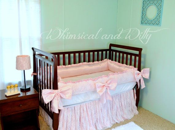 Lace And Pink Satin Baby Crib Bedding Set Ruffled Crib Skirt