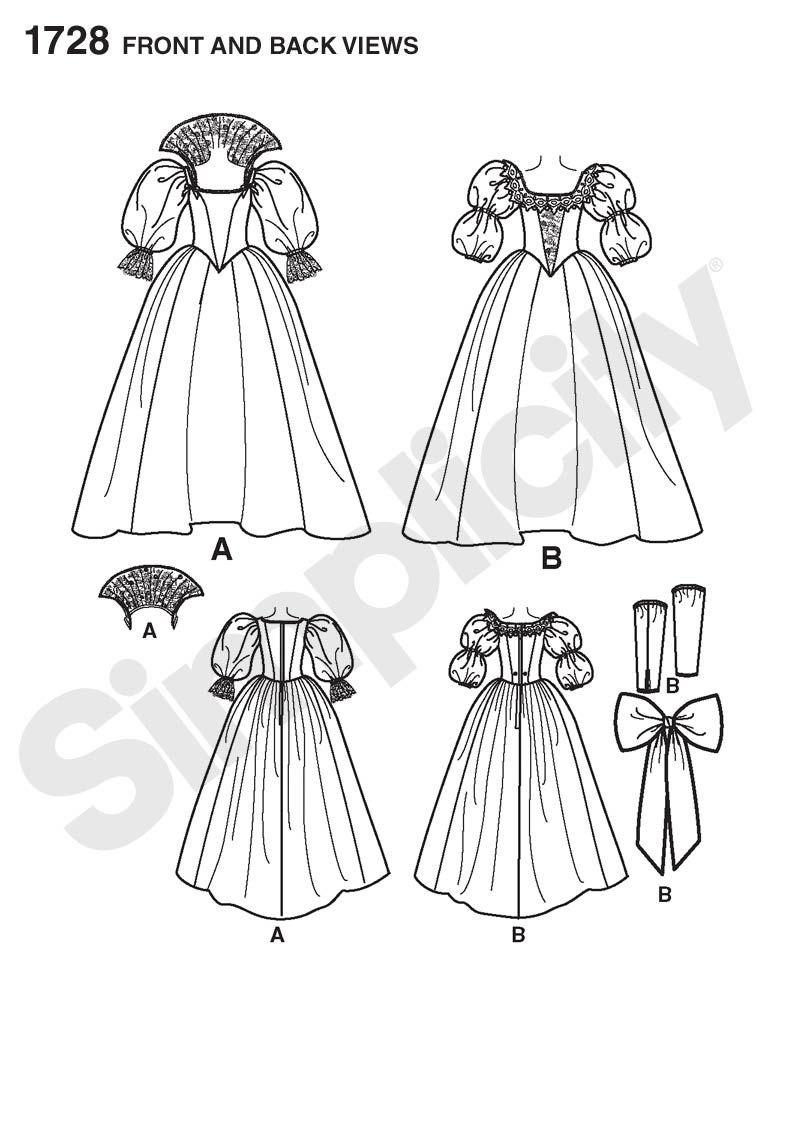 Simplicity 1728 - 1728 Misses\' Costume | Misses\' 16th century ...