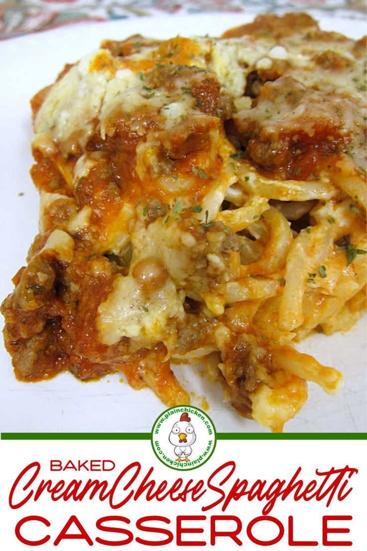 Photo of Baked Cream Cheese Spaghetti Casserole – Plain Chicken