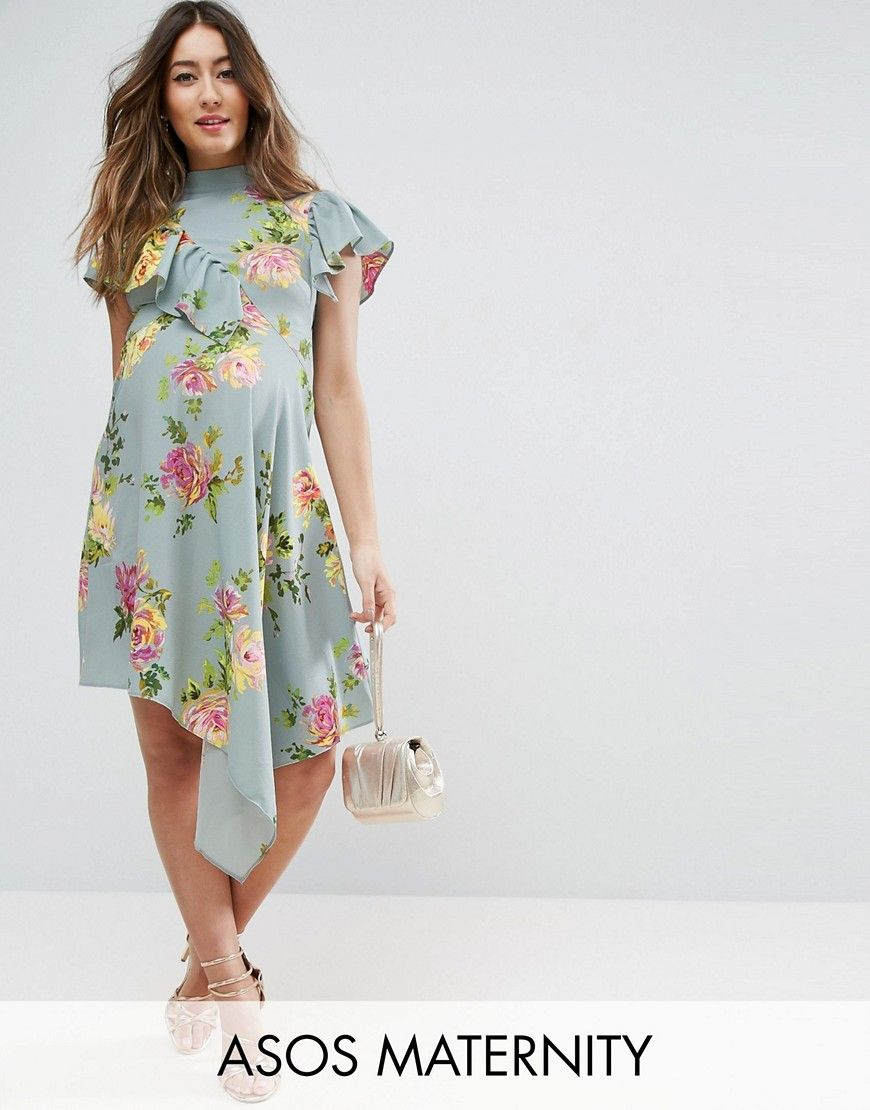 Get this asos maternitys casual dress now click for more details get this asos maternitys casual dress now click for more details worldwide shipping asos maternity asymmetric tea dress in floral print blue ombrellifo Image collections