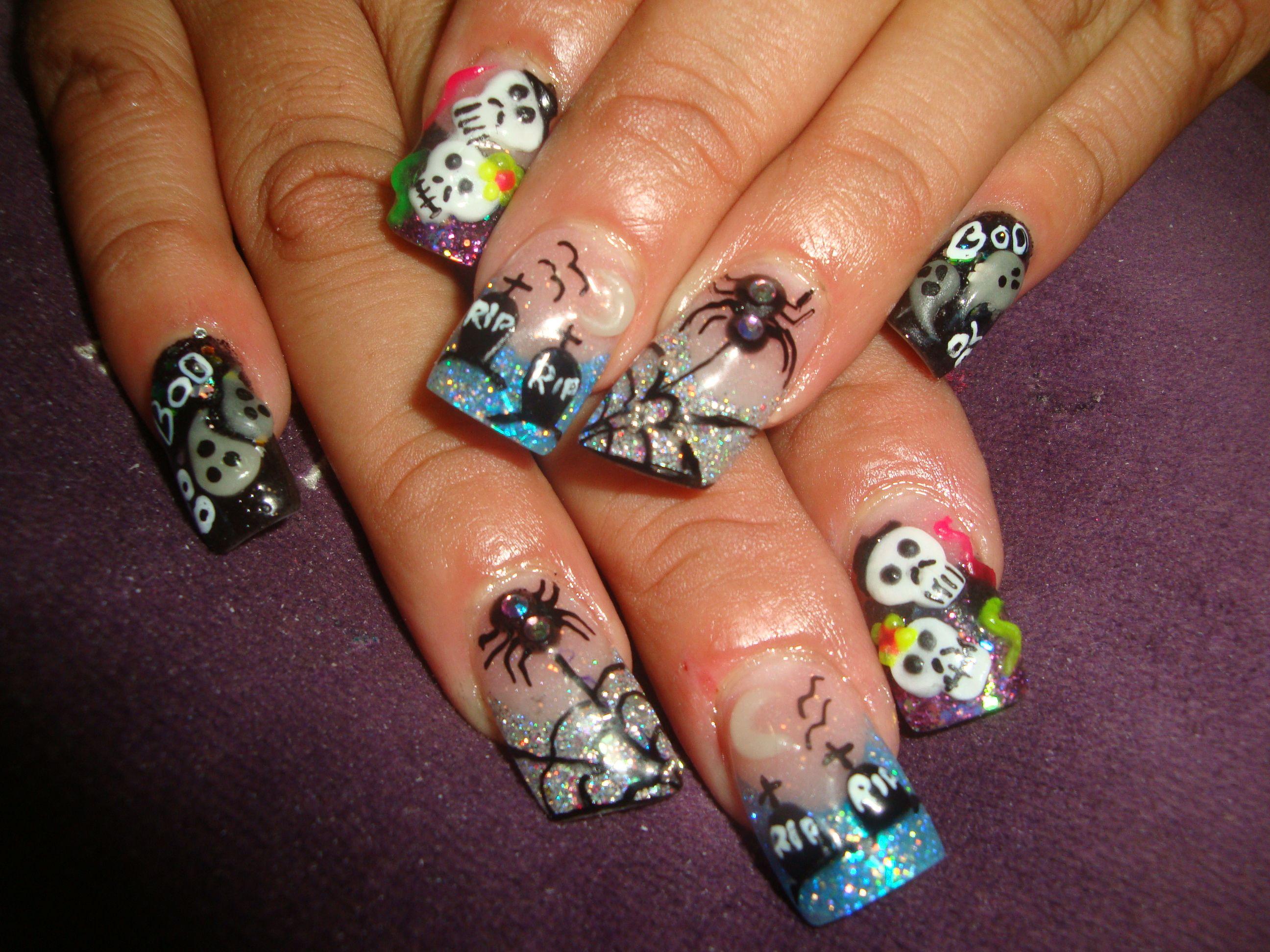 Uñas Acrilicas de Halloween :D en 3D !!!!!!!! | Uñas acrilicas ...
