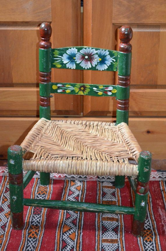 Old Hand Painted Vintage Mexican Chair For Children Green