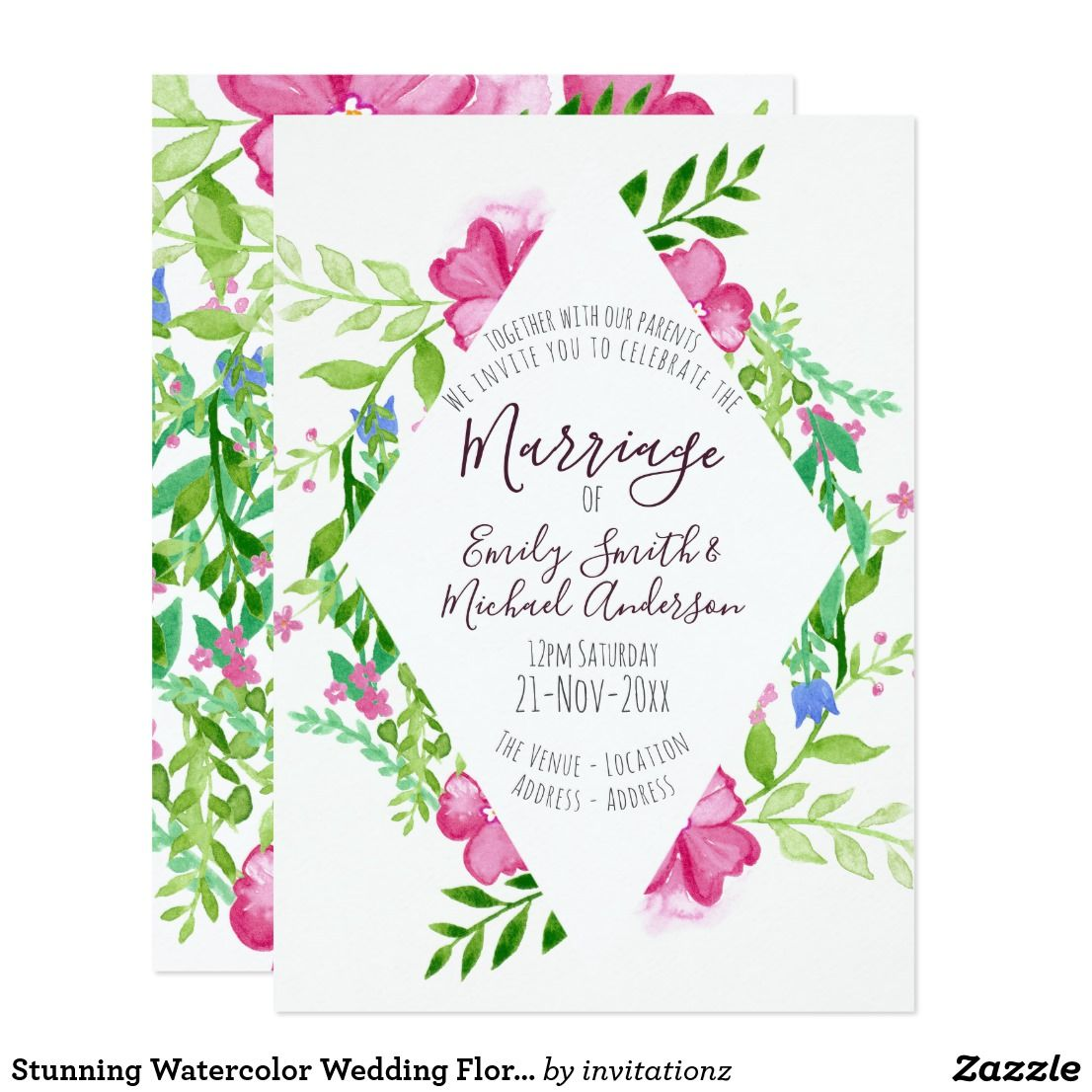 Wedding decorations with lights november 2018 Stunning Watercolor Wedding Floral Wreath Invitate Card  Trending