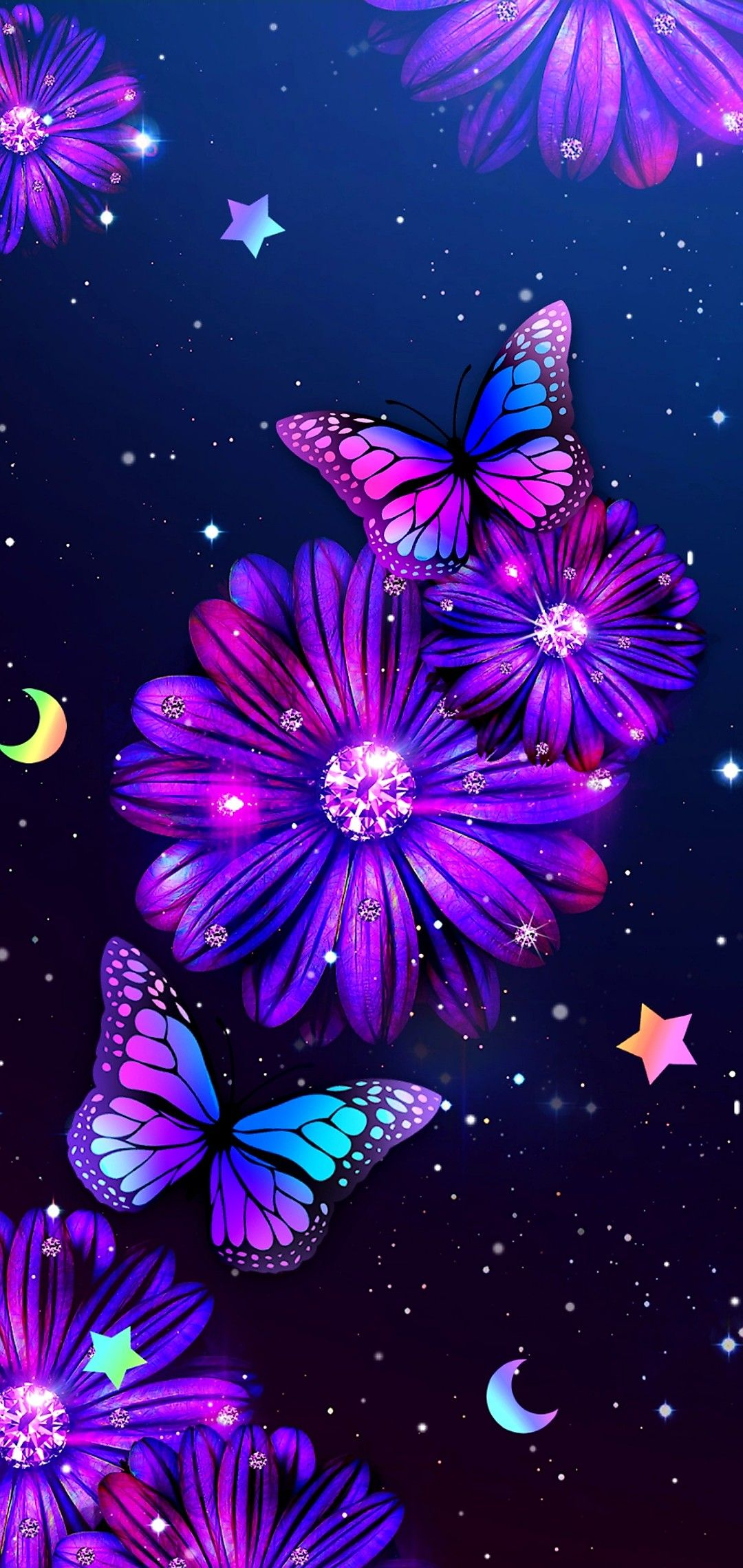 Flower Butterfly Butterfly Wallpaper Backgrounds Butterfly Wallpaper Iphone Sparkle Wallpaper