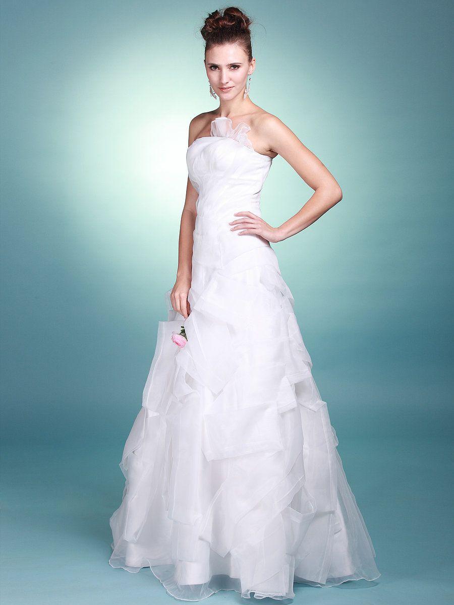 Wedding dress under 500  Strapless A Line Wedding Gown with Ruffled Details  Wedding Day