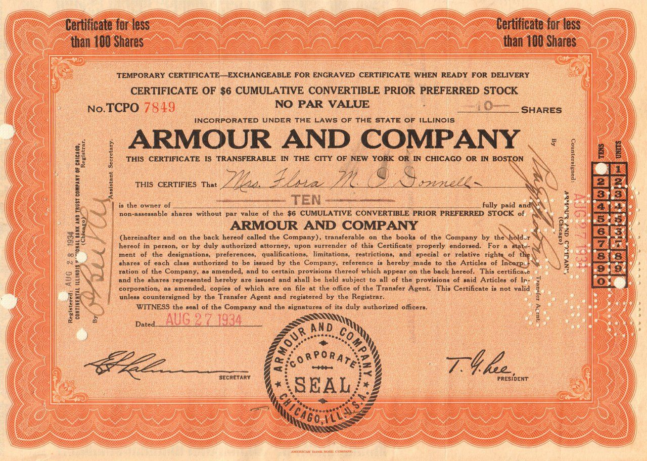 094463b7 Armour Company temporary certificate 1934 (Illinois) | old stock ...