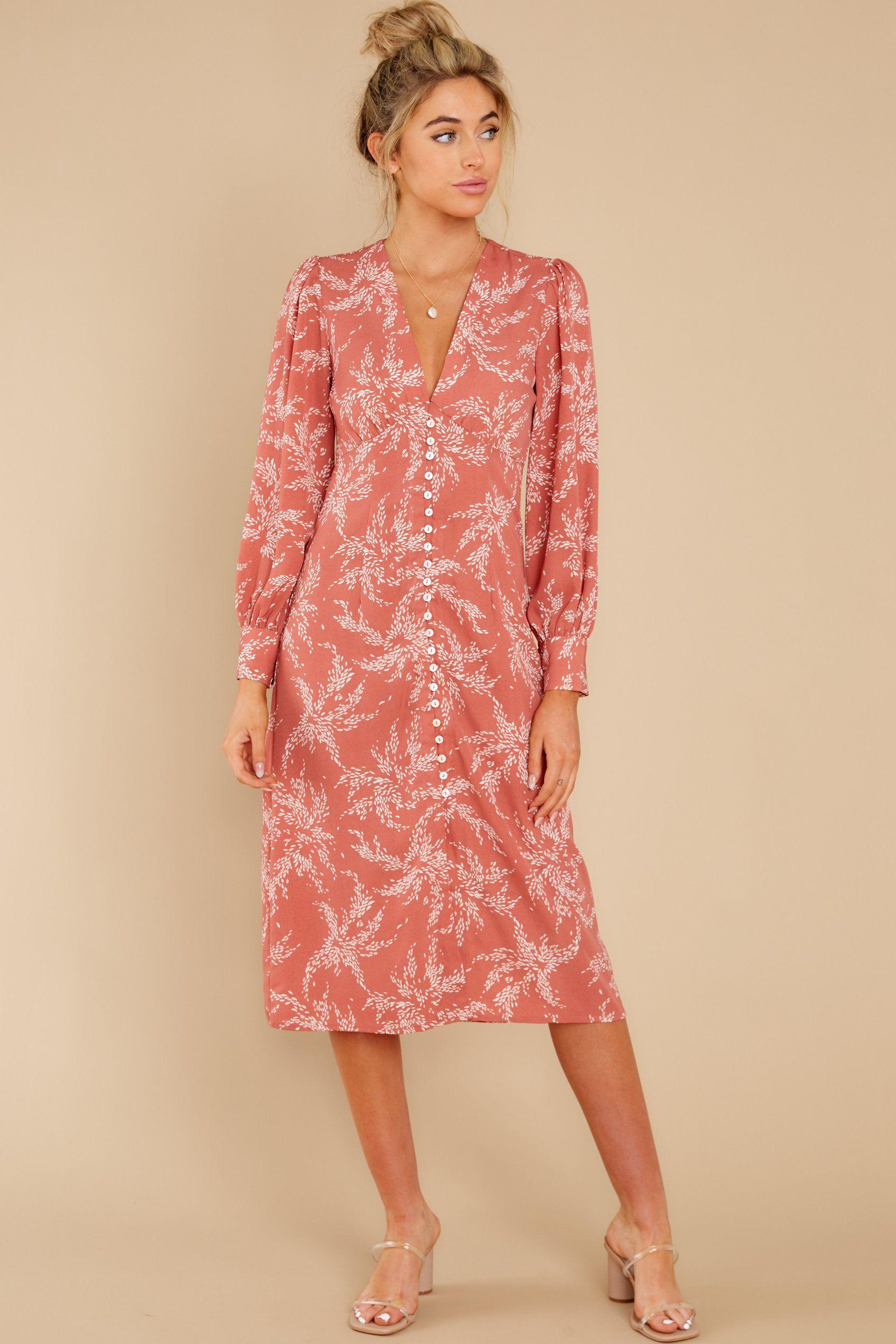 Stylish Pink Dress Printed V Neck Button Up Midi Dress 46 Red Dress Red Dress Women Pink Print Dress [ 2738 x 1825 Pixel ]