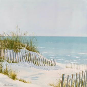 Serene Beach Dune Fence And Ocean Art Painting