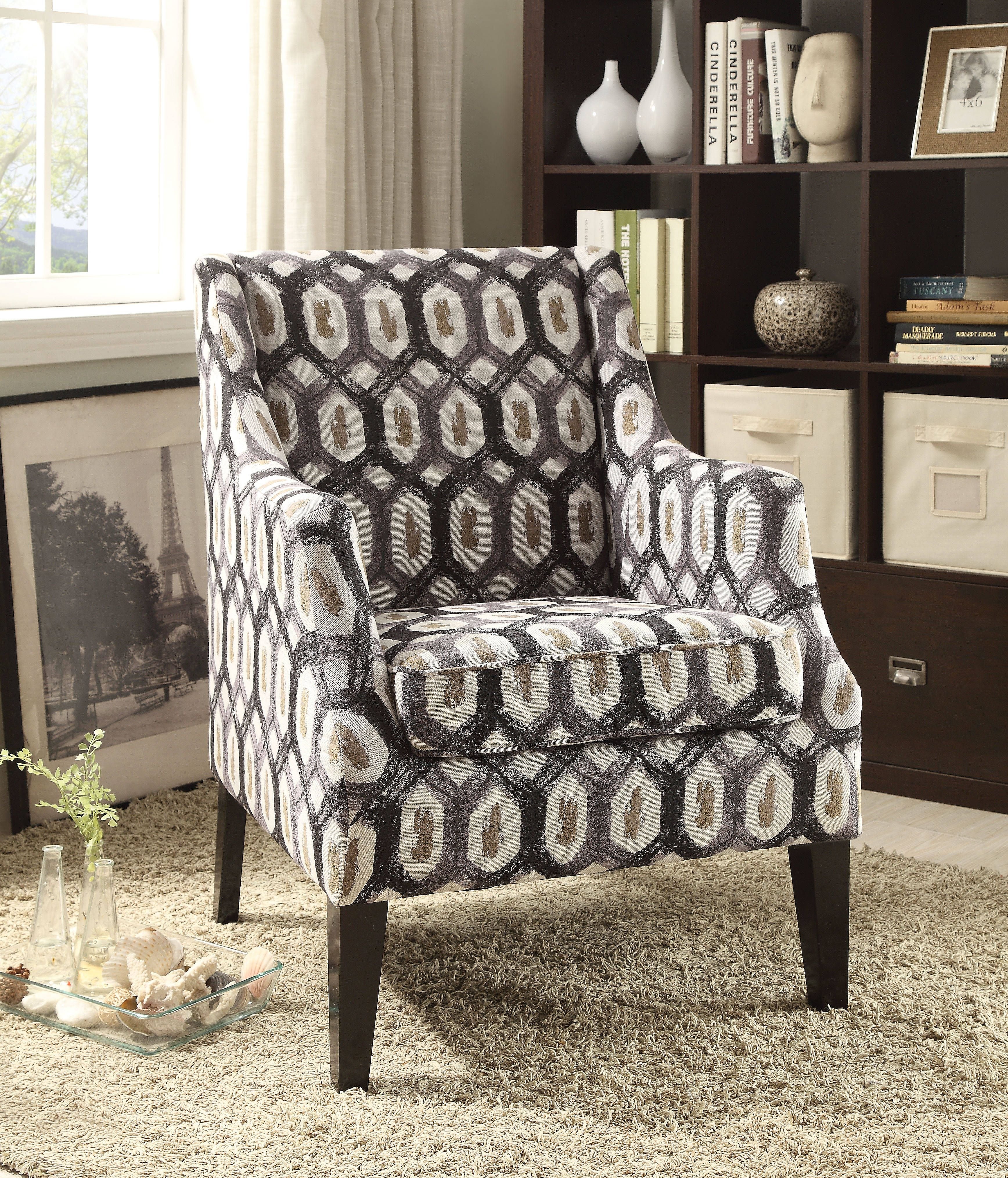Zarate Contemporary Fabric Tight Back Accent Chair Accent Chairs