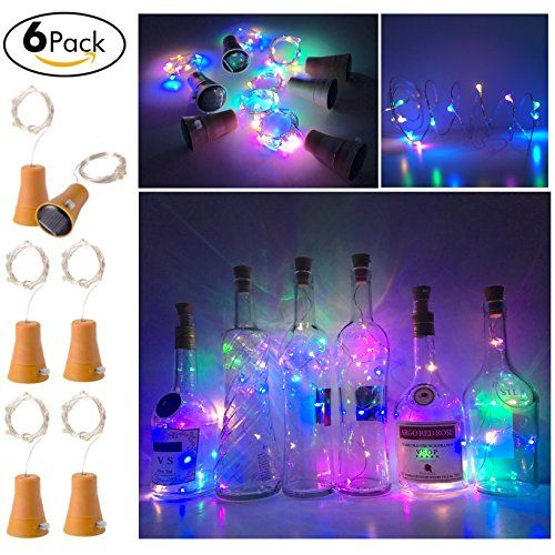 6 Pack Solar Ed Wine Bottle Lights 10 Led Waterproof Colorful Copper Cork Shaped For Wedding Christmas Outdoor Holiday Garden Patio Pathway