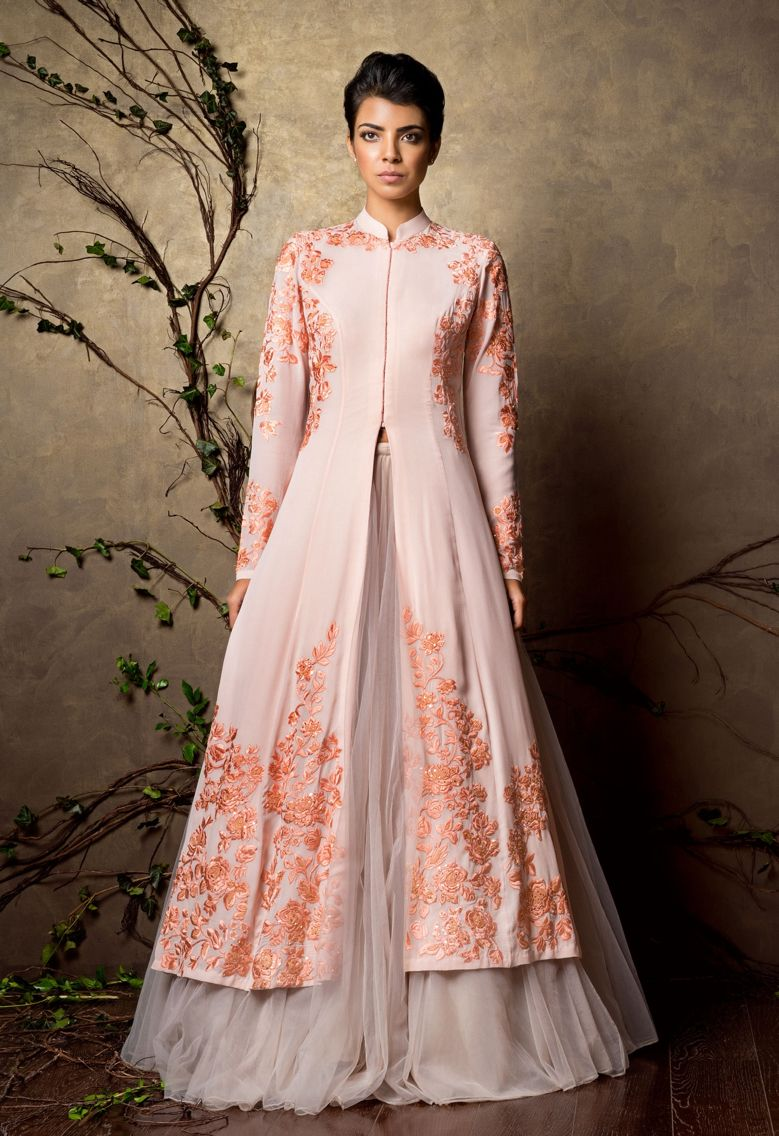 An elegant peach pearl silk georgette jacket with satin thread ...