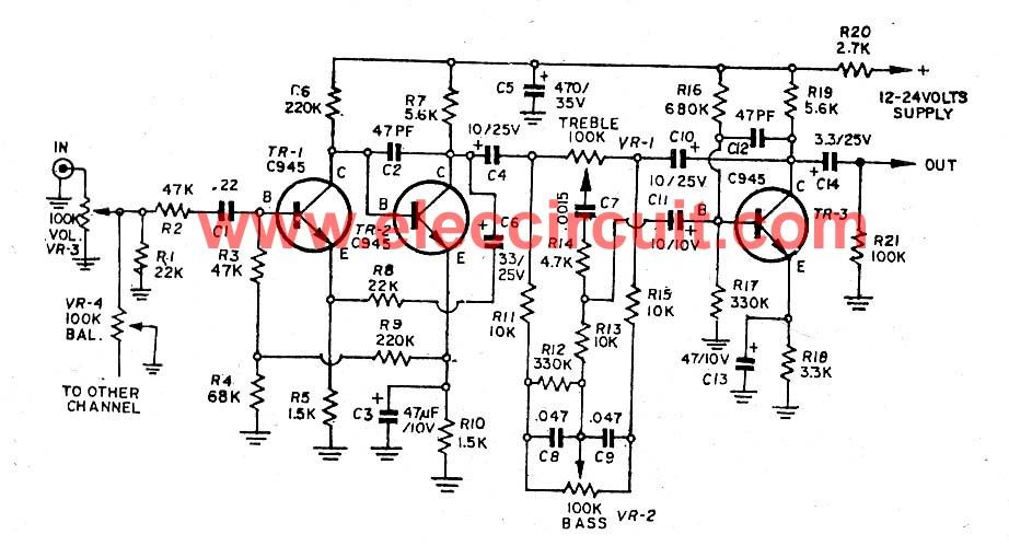 microphone preamplifier using c945 transistor eleccircuitcom picture