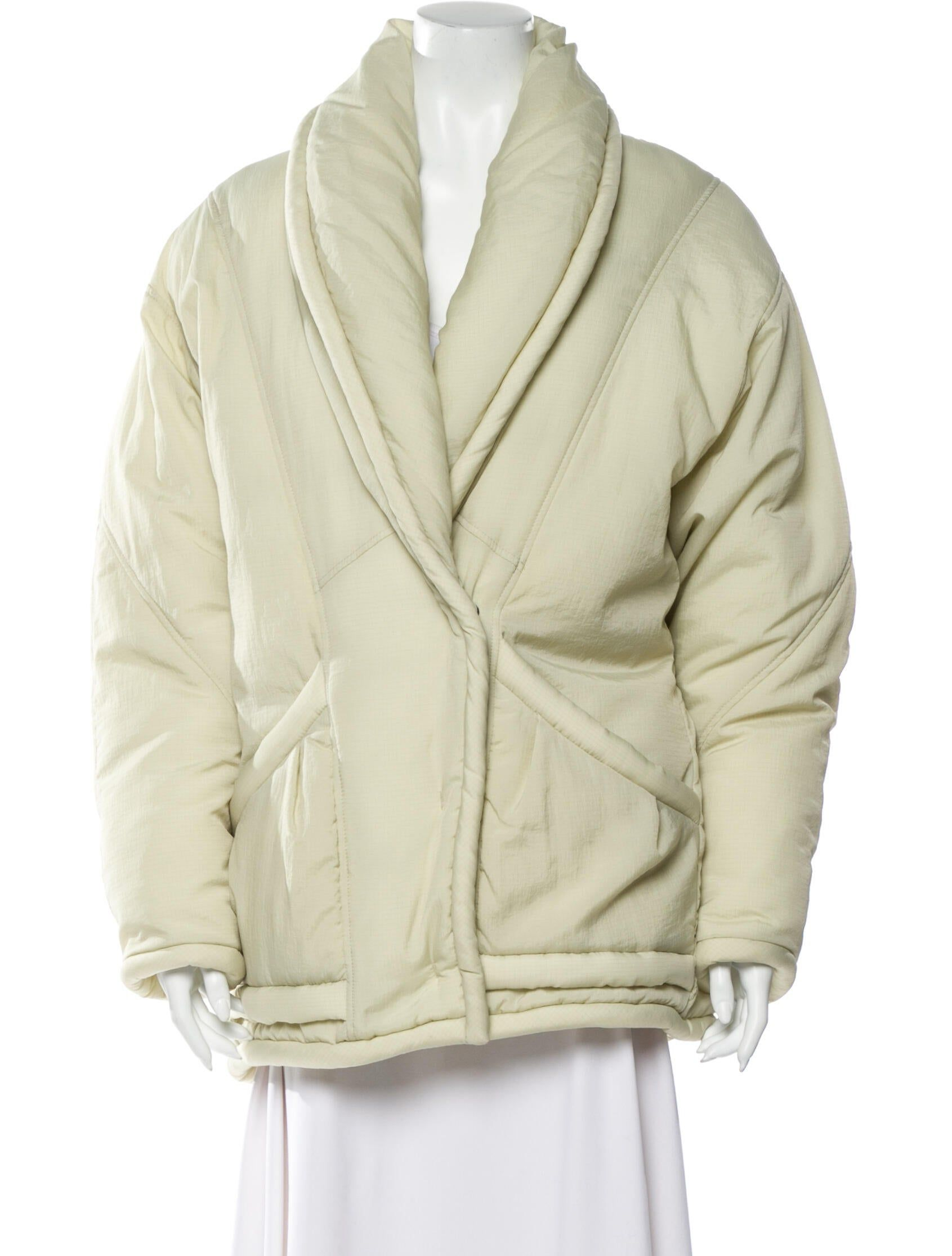 Creme Isabel Marant Puffer Coat With Shawl Collar Dual Seam Pockets At Waist And Concealed Snap Closures At Front Puffer Coat Coat Clothes [ 2231 x 1691 Pixel ]