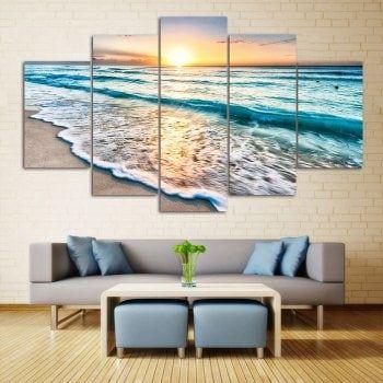 Wall Art Sunset Beach Print Split Canvas Paintings 1pc 10 24