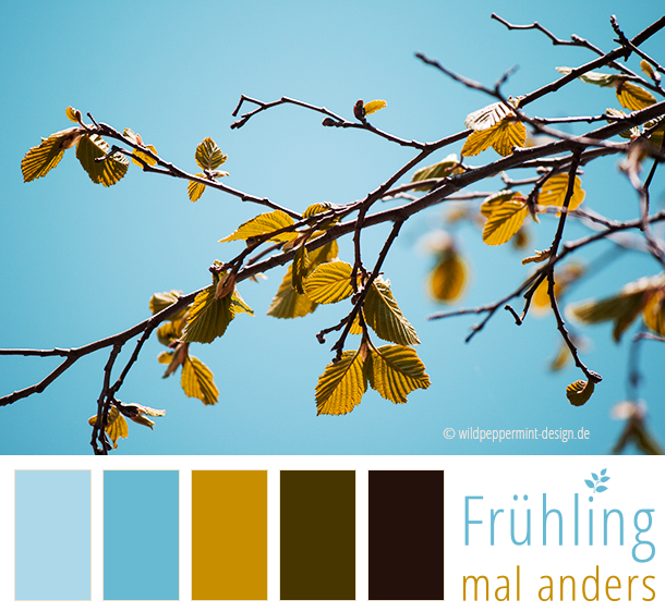 Farbpaletten Blau: Farbpalette, Farbinspiration, Frühling, Hellblau, Ocker