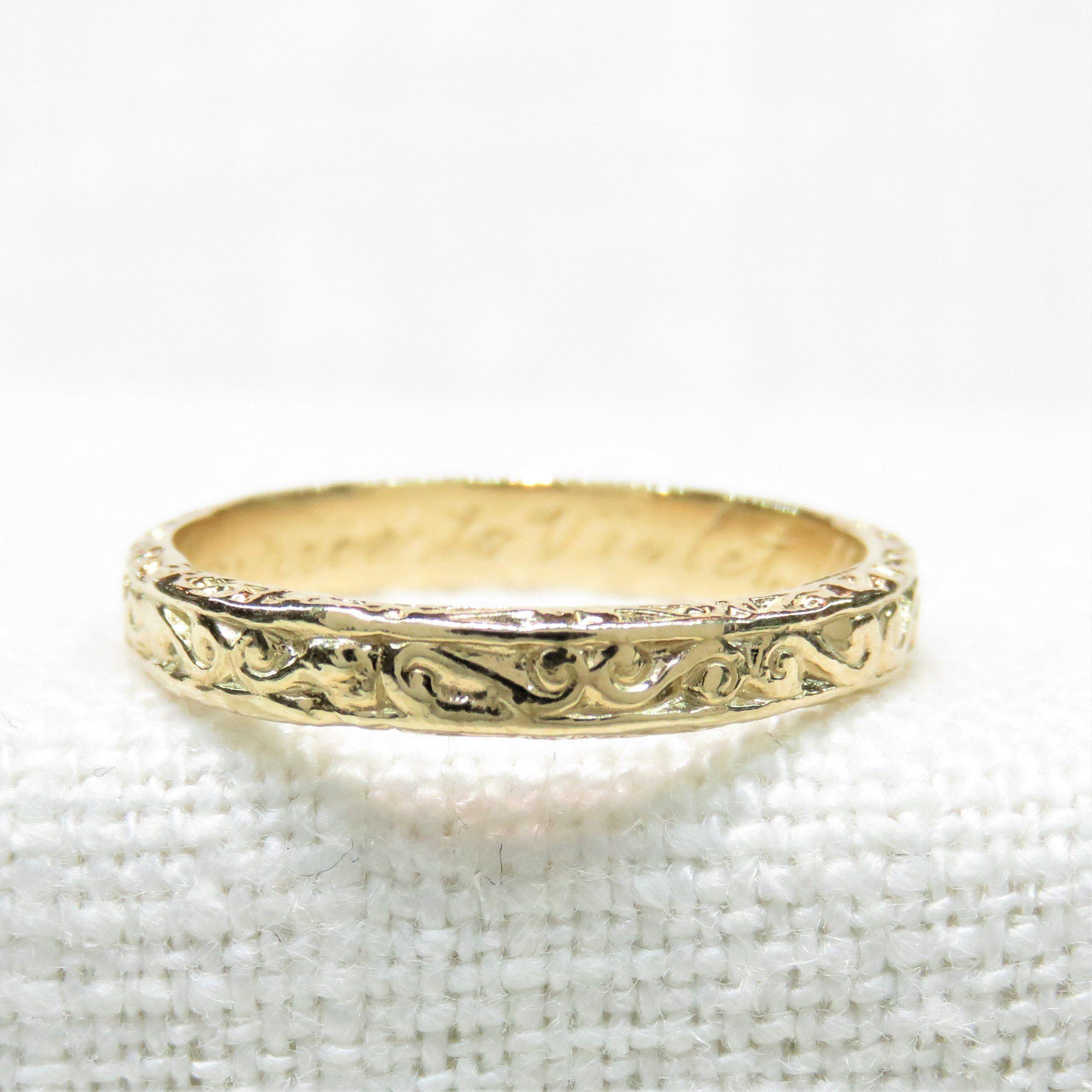 14k Gold Edwardian Wedding Ring Vintage Wedding Ring Vintage Wedding Band Engraved Weddi Edwardian Wedding Ring Engraved Wedding Rings Wedding Rings Vintage