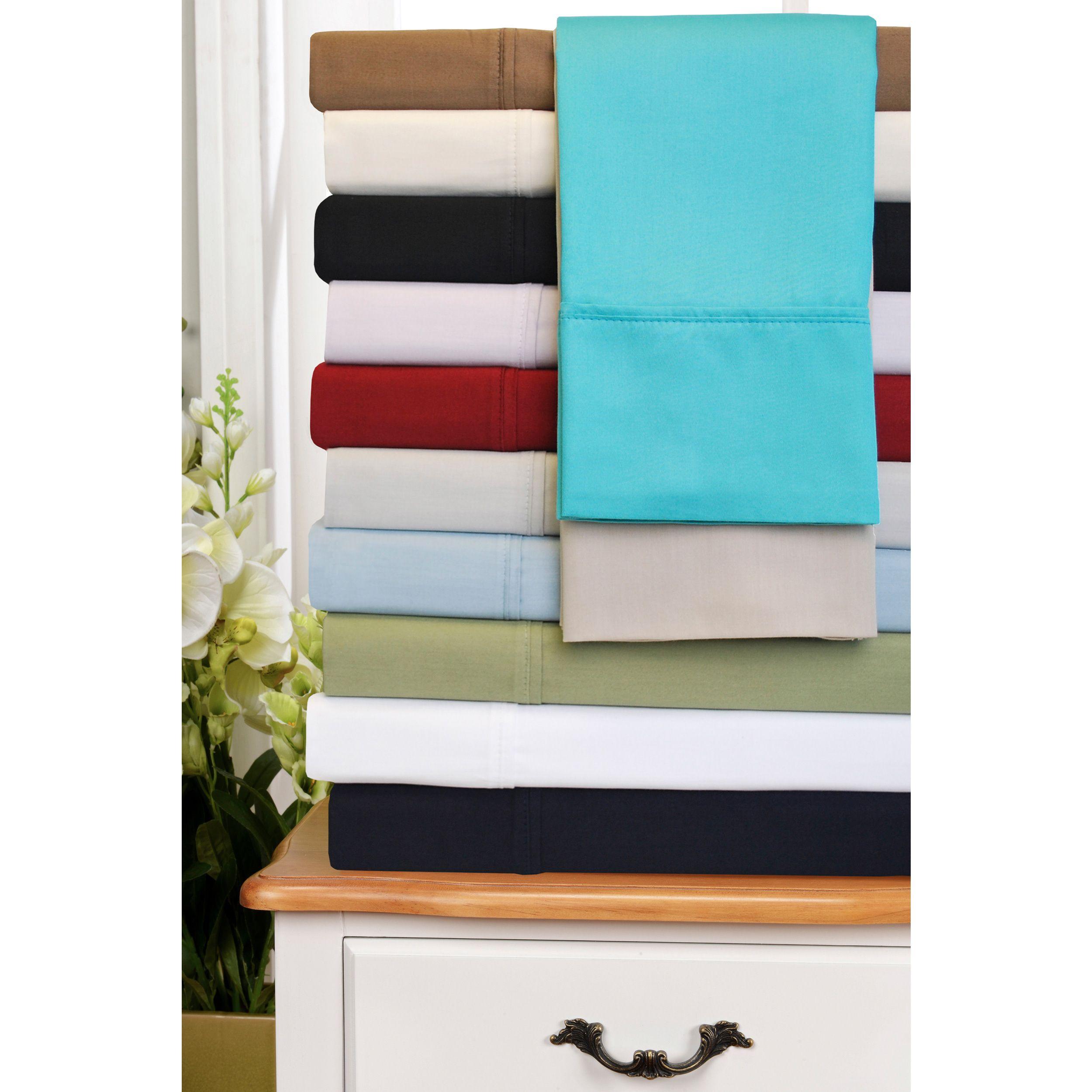 Superior thread count deep pocket cotton sateen sheet set by