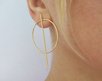 080f48dcc73d9 Circle Bar Earrings, Gold Round Studs, Trendy Circle Earrings ...