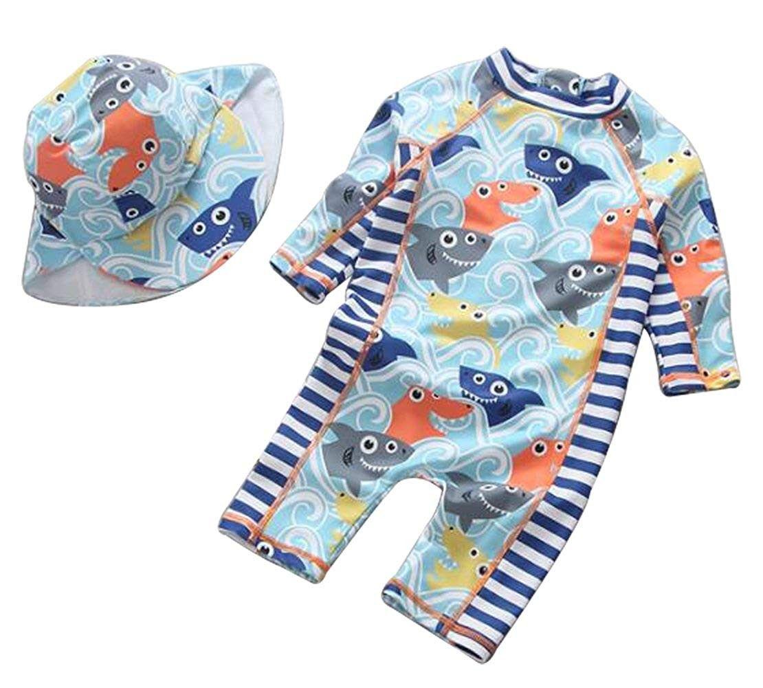 Sun Protection Baby Boy One-Piece Swim Suit Long Sleeve UPF 50