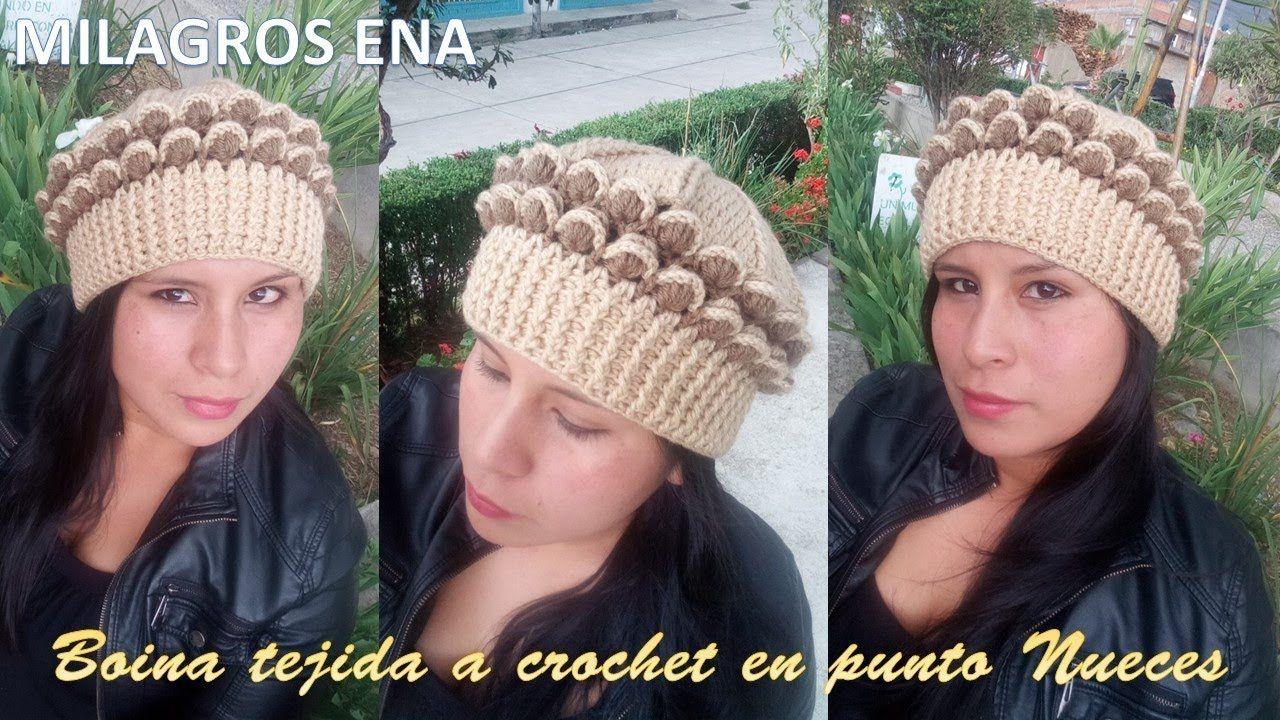 Boina Gorro a Crochet en punto Nueces en 3D paso a paso con indicaciones. 6d48d816bbe