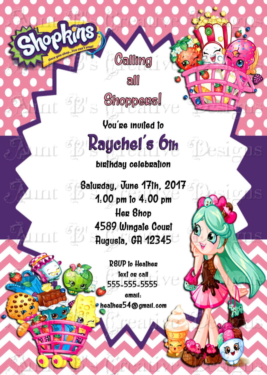 Shopkins Birthday Invitation Peppa Mint Custom