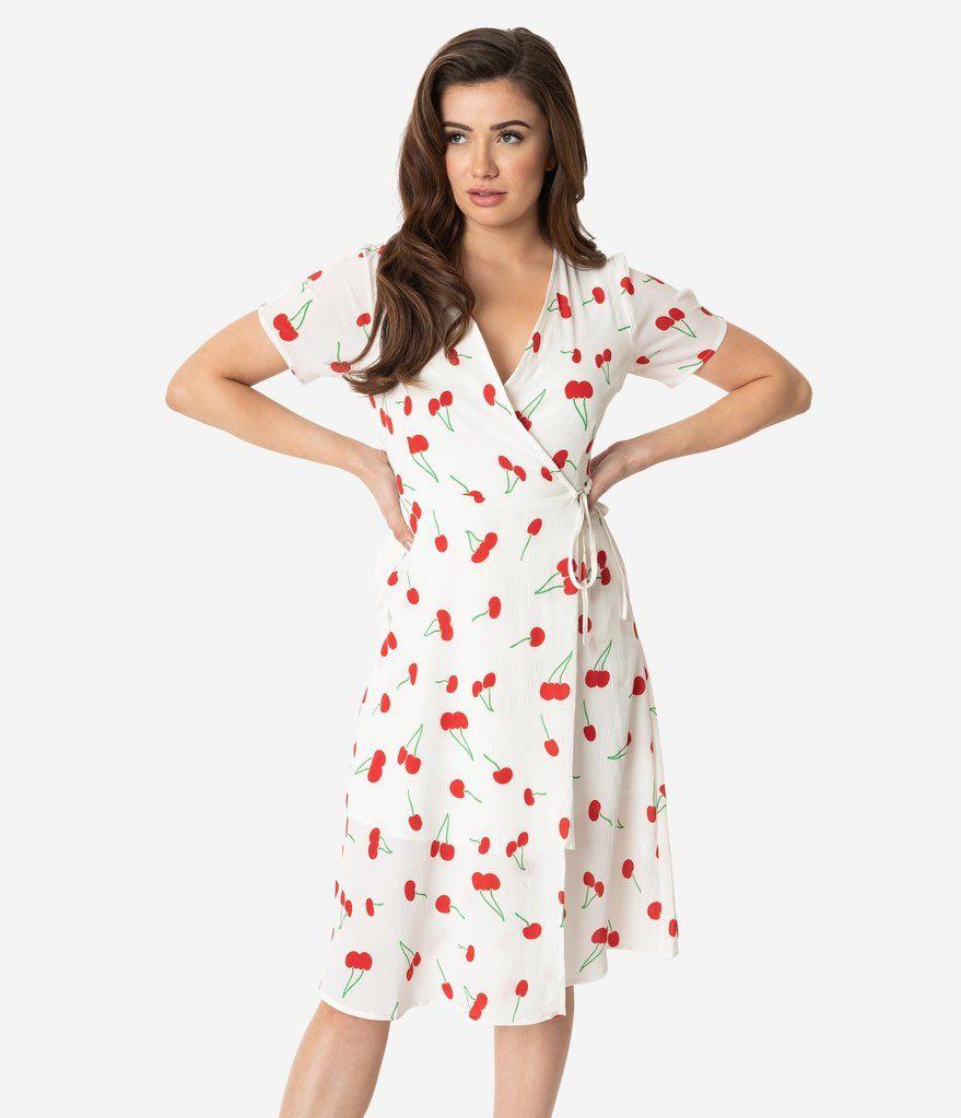 Retro Style White Red Cherry Print Short Sleeve Wrap Dress Unique Vintage Cherry Print Dress Wrap Dress Dresses [ 1023 x 879 Pixel ]