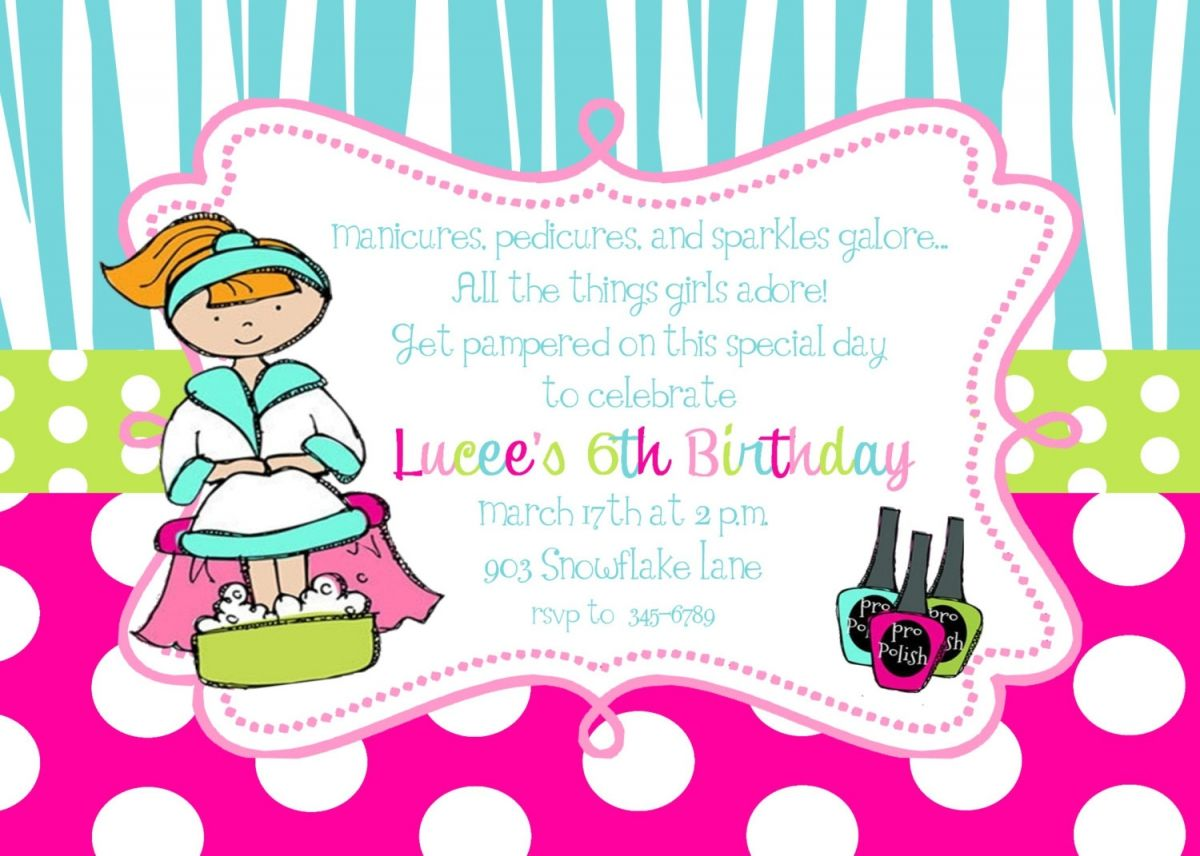 free printable pamper party invitation