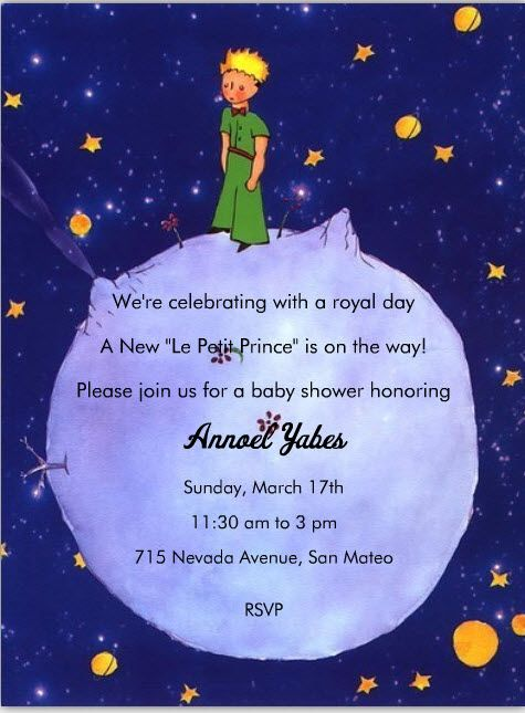 Le Petit Prince Invite Part 1 Le Petit Prince Themed Baby Shower