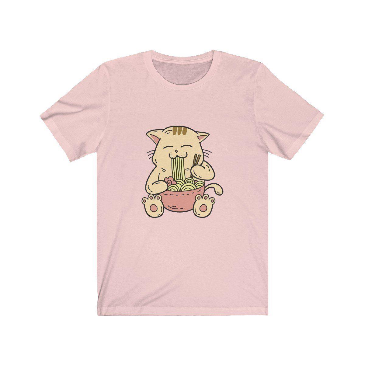 Cute kawaii japanese anime cat eating ramen with
