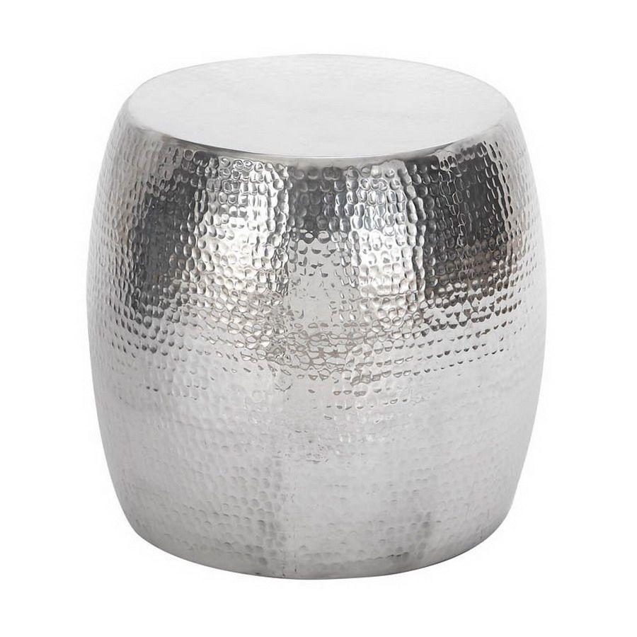 Woodland Imports Vintage Inspire Silver Round Ottoman Helio -  C39d3513a015bbf8c0dcc6a988fe3b4a.jpg - Silver Ottoman Cymun Designs