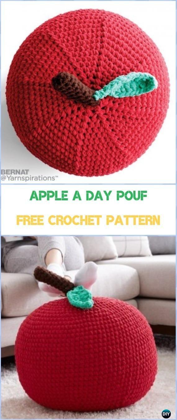 Crochet Apple A Day Pouf Free Pattern Crochet Poufs Ottoman Free
