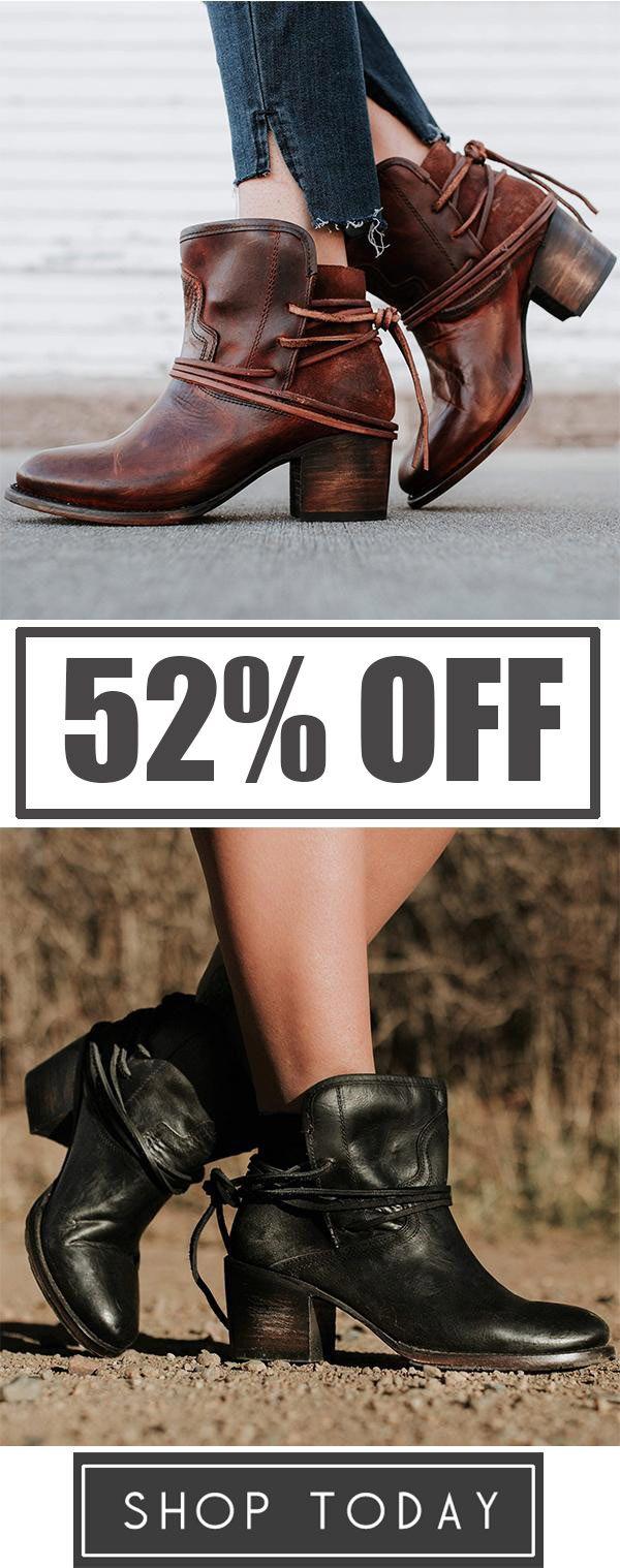 2a8bd5a38b77 Women Vintage Low Heel Ankle Plus Size PU Back-lace Boots