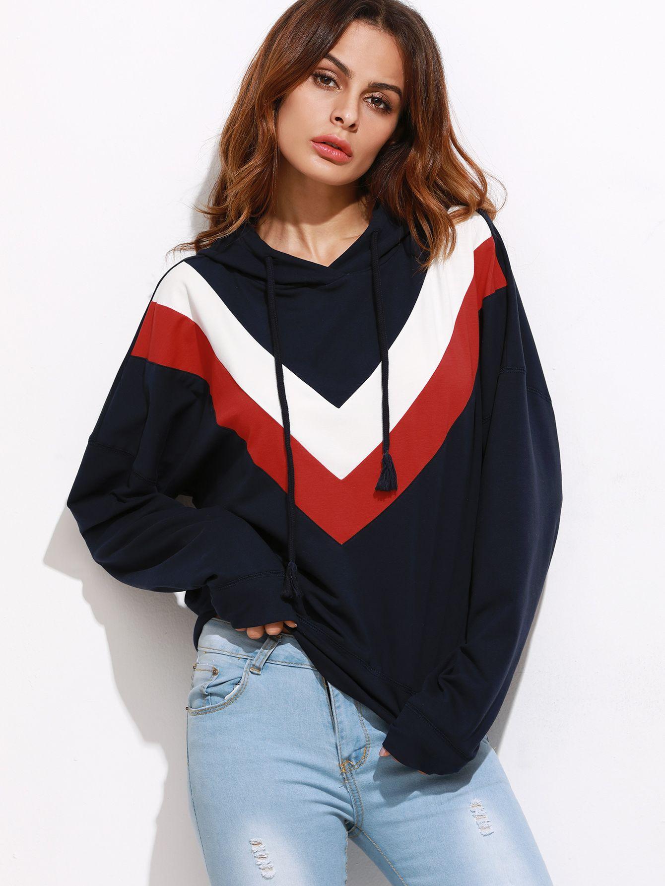 1aaa6d8d65 Shop Navy Drop Shoulder Chevron Pattern Hoodie online. SheIn offers Navy  Drop Shoulder Chevron Pattern Hoodie   more to fit your fashionable needs.