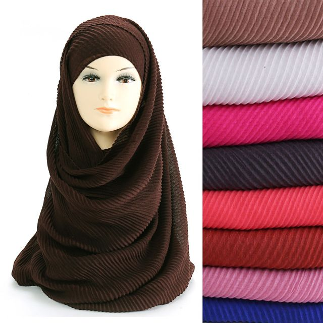 7ed22157cead5 Large Size 180cm*90cm Pleated Crinkle Women's Hijab Scarf Muslim Head Wrap  Shawl Plain Colours Review