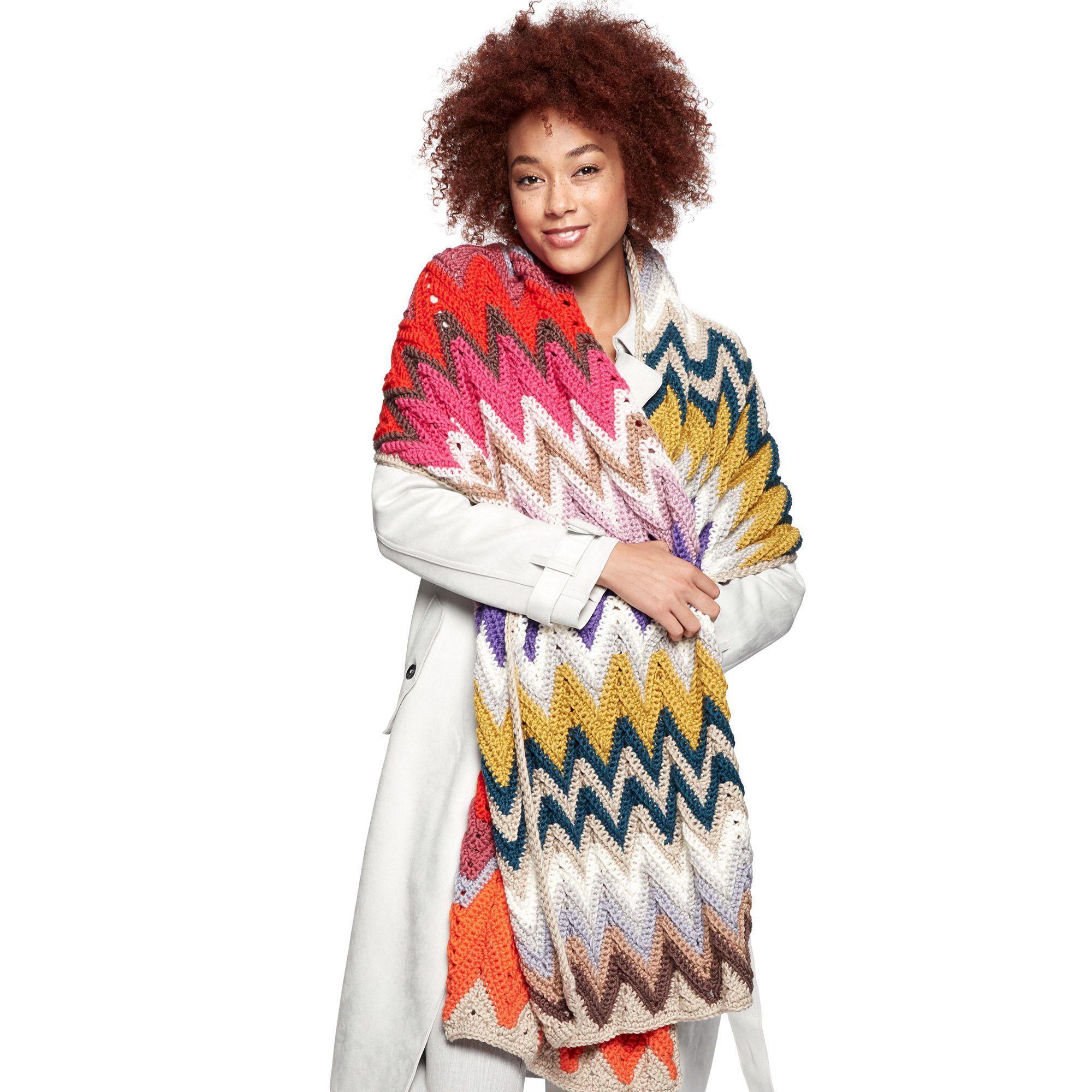 Caron x Pantone Crochet Zig-Zag Rectangular Shawl Pattern ...