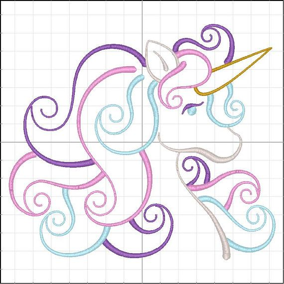 UNICORN SATIN OUTLINE Embroidery Design For Machine Embroidery ...